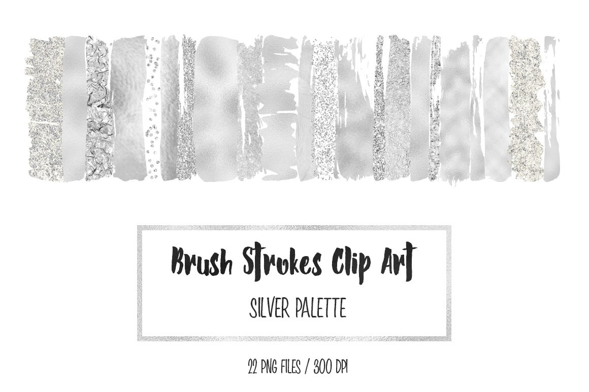 Silver Brush Strokes Clip Art Graphic Objects Creative