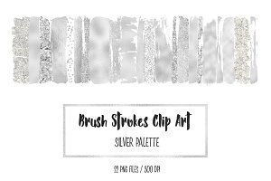 Silver Brush Strokes Clip Art