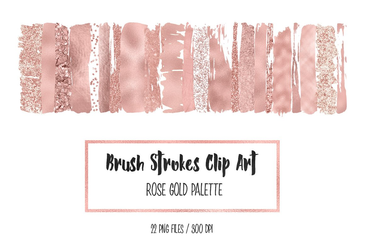 Rose Gold Brush Strokes Clip Art Graphic Objects