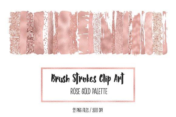 Rose Gold Brush Strokes Clip Art