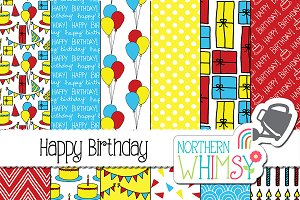 Red Yellow & Blue Birthday Patterns