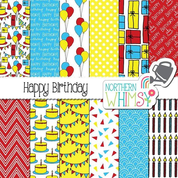Red Yellow Blue Birthday Patterns