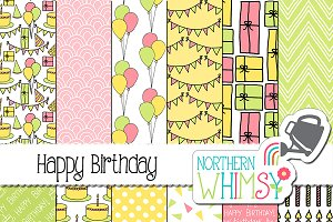 Baby Girl Pastel Birthday Patterns