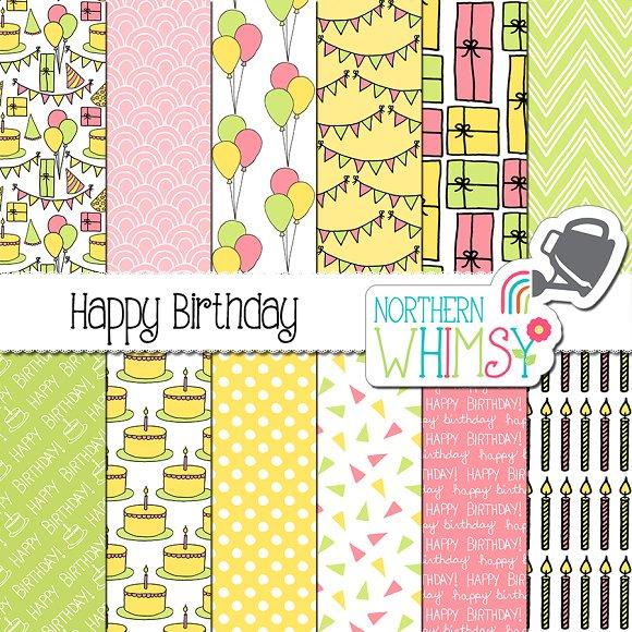 Baby Girl Pastel Birthday Patterns