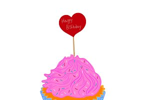 Birthday cupcake, sketch, vector