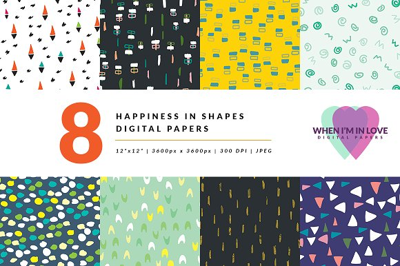 Digital Papers Happiness In Shapes