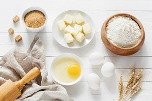 Baking ingredients on white