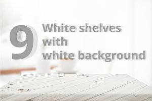 9 White shelves with background