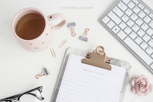 Desktop styled stock photo rose gold