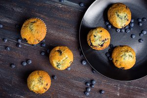 Fresh homemade blueberry muffins