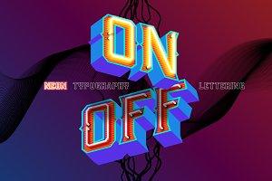 Neon retro lettering