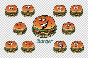 Burger fast food emotions characters collection set