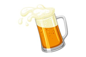 Mug with light beer and froth. Illustration for Oktoberfest