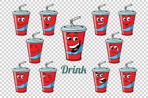 drink Cola tube emotions characters collection set