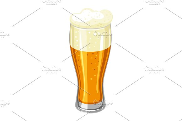 Glass With Light Beer And Froth Illustration For Oktoberfest