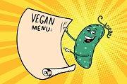 Vegetarian menu announces cucumber