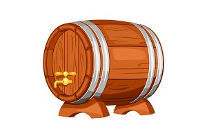 Beer wooden barrel on white background. Illustration for Oktoberfest