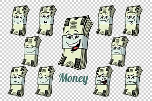 one hundred dollars cash packing emotions characters collection