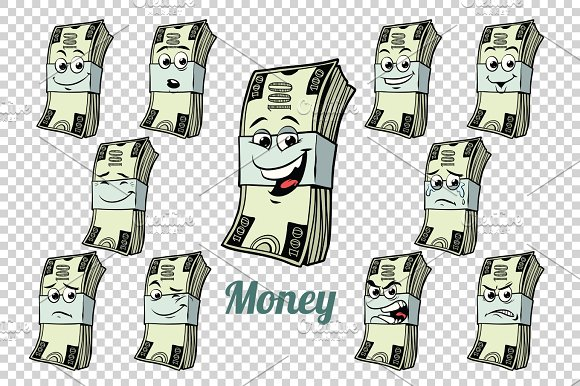 one hundred dollars cash packing emotions characters collection  in Illustrations