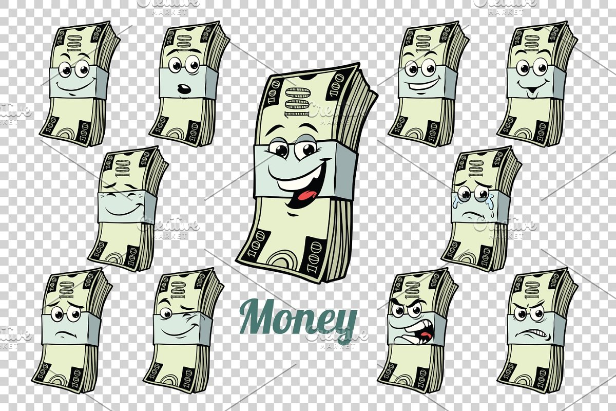 one hundred dollars cash packing emotions characters collection  in Illustrations - product preview 8