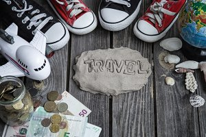 items traveler,travel concept