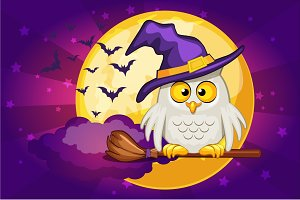 Cartoon owl and moon, set Illustration Happy Halloween