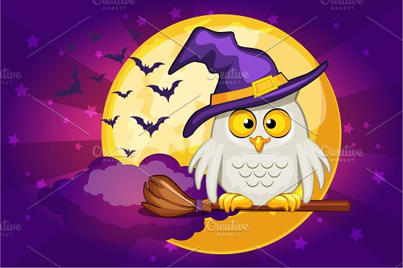 Cartoon Owl And Moon Set Illustration Happy Halloween