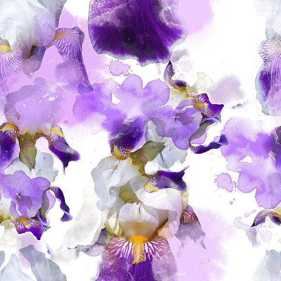 Irises Seamless Pattern JPEG