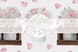 Rose Jar Crate Watercolor Clip Art