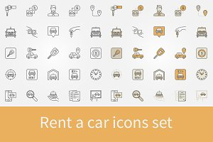 Rent a car icons set