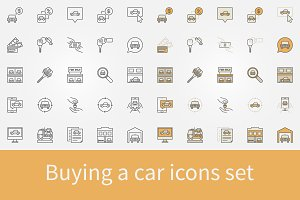 Buying a car icons set