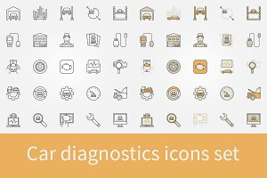 Car diagnostics icons set