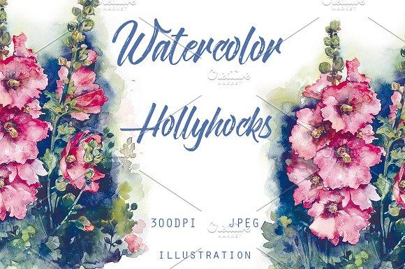 Watercolor Hollyhocks Pink Flowers