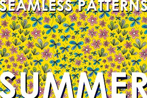Floral summer patterns set.