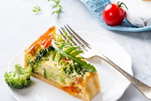 Slice of delicious homemade quiche