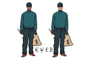 African Caucasian thief robber dollar Euro pound yen bitcoin