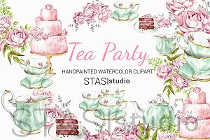 Tea Party Watercolor Clipart
