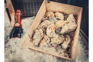 Wine bottle and oysters