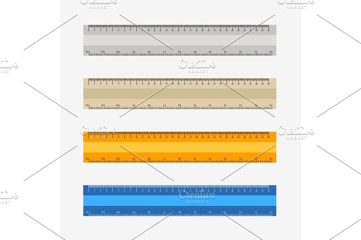 colorful rulers, millimeters, centimeters and inches,
