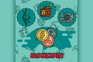 Blockchain flat concept icons