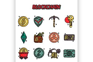 Blockchain flat icons set