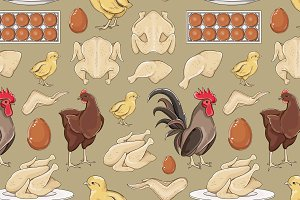 Chicken icons pattern