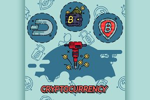 Cryptocurrency flat concept icons