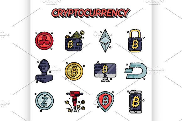 Cryptocurrency Flat Icons Set