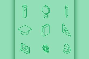 Education outline isometric set