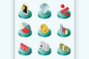 Finance flat isometric icons