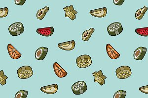 Fruit flat outline isometric pattern