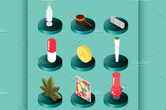 Drugs Flat Isometric Icons