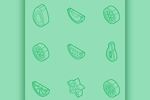 Fruit outline isometric set