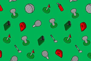 Golf flat outline isometric pattern